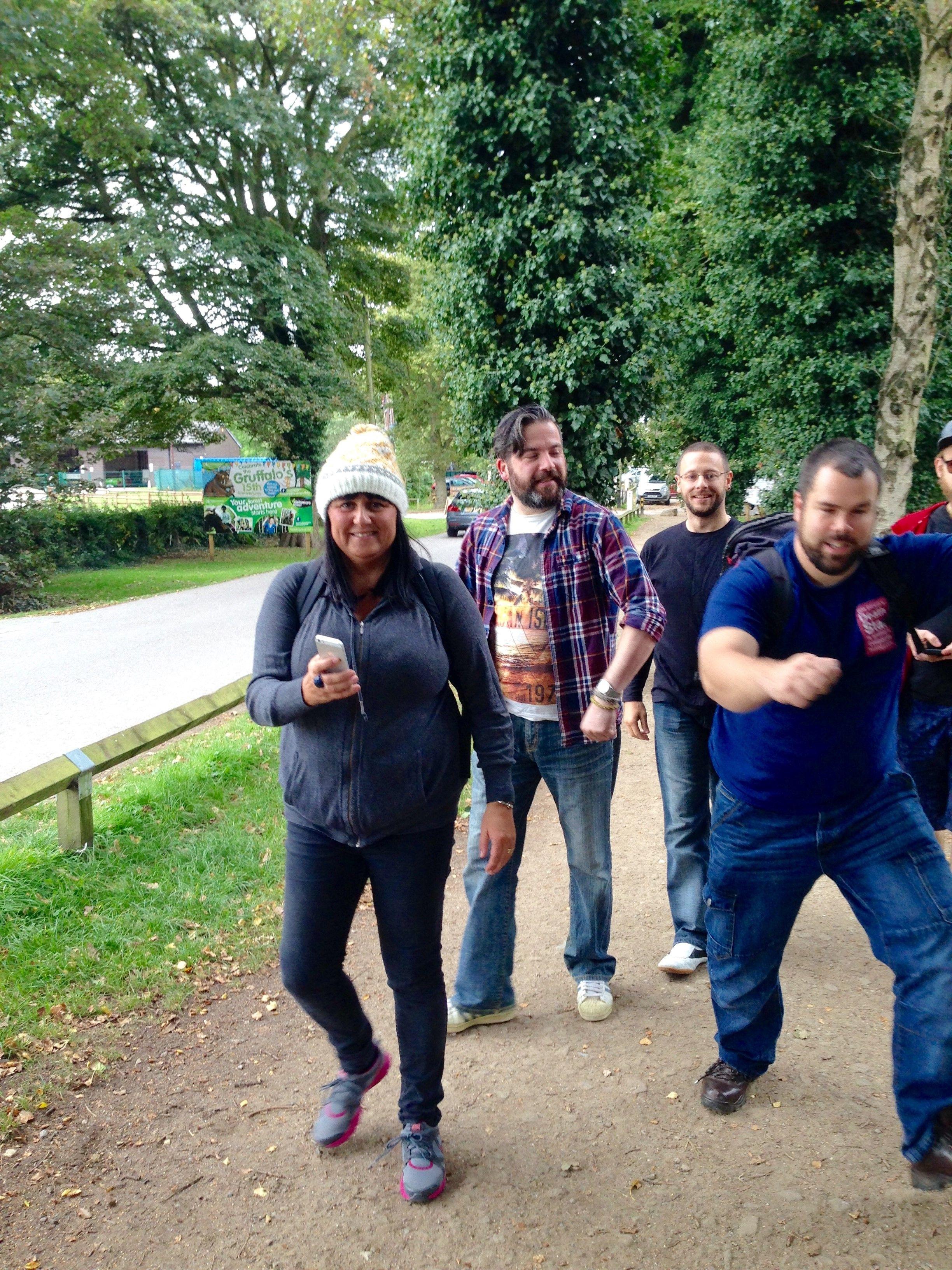 Team trek through the woods