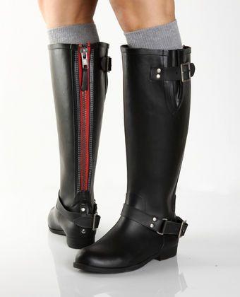 Steve Madden Tsunamii Black Rubber Rain Boots