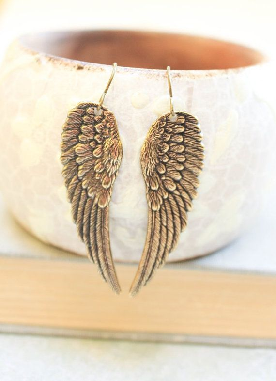 Long Wing Earrings Antique Gold Brass Angel by apocketofposies