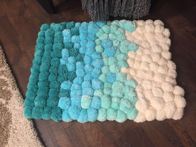 Baby Blue Wave Pom Rug