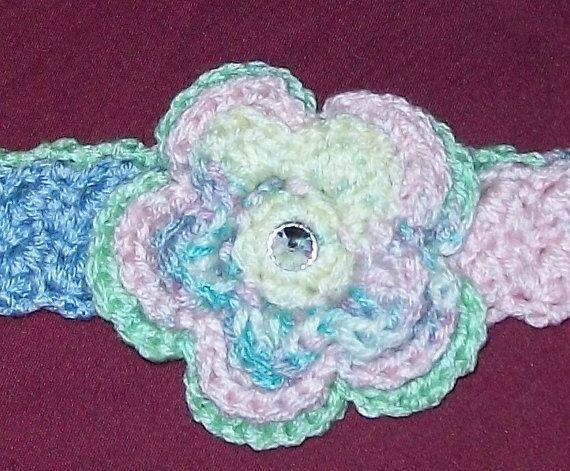 Michelle Clark Eddy  Pastel crocheted headband with flower and  rhinestone by meddywv, $8.00  #MarMad #HandmadeC