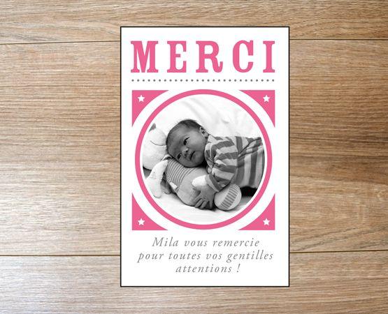 Carte Minimerci Naissance Une De Remerciement Assortie Votre Fairepart Format Visite Ou Polaroid Avec Texte Et Photo