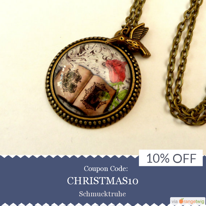 We are happy to announce 10% OFF on our Entire Store. Coupon Code: CHRISTMAS10.  Min Purchase: N/A.  Expiry: 31-Dec-2016.  Click here to avail coupon: https://www.etsy.com/shop/Schmucktruhe?utm_source=Pinterest&utm_medium=Orangetwig_Marketing&utm_campaign=Coupon%20Code   #etsy #etsyseller #etsyshop #etsylove #etsyfinds #etsygifts #musthave #loveit #instacool #shop