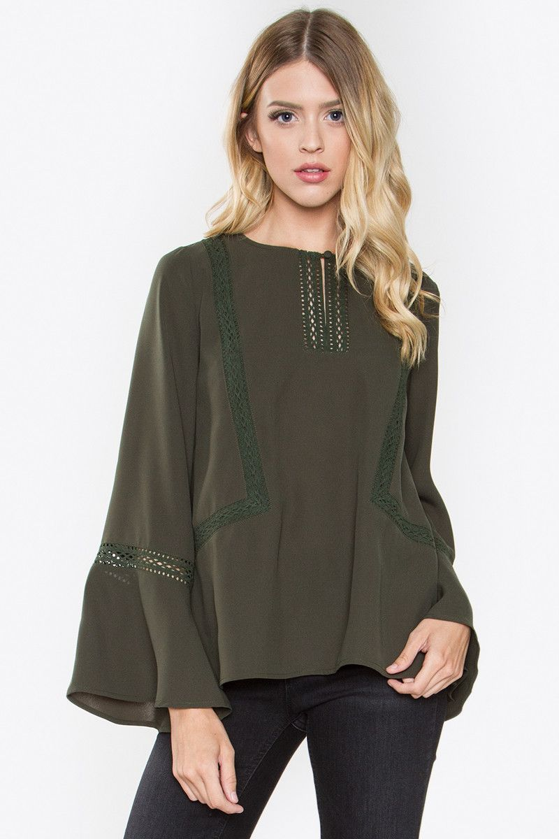 1441e1e1d88ff4 SugarLips Laurel Bell Sleeve Olive Green Top | Products | Tops ...