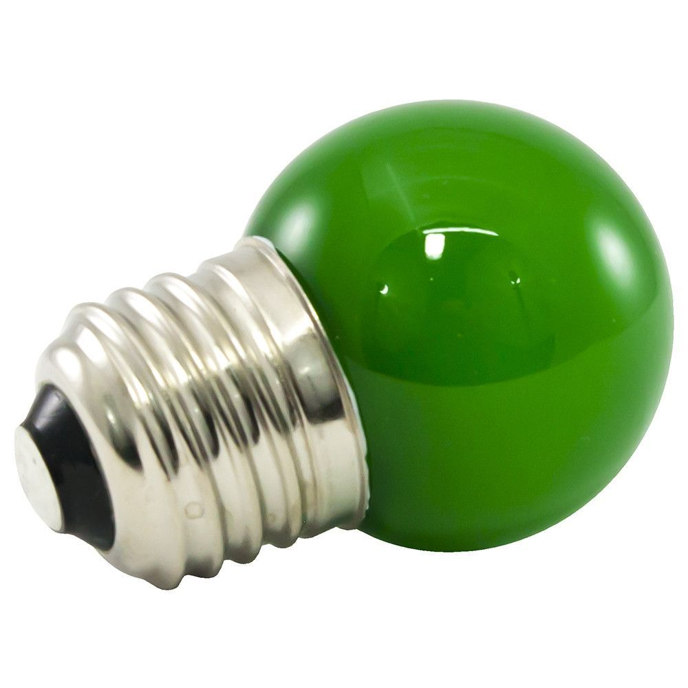 25PK - G40 Globe LED 1.2W Frosted GLASS 120V E26 GREEN Dimmable