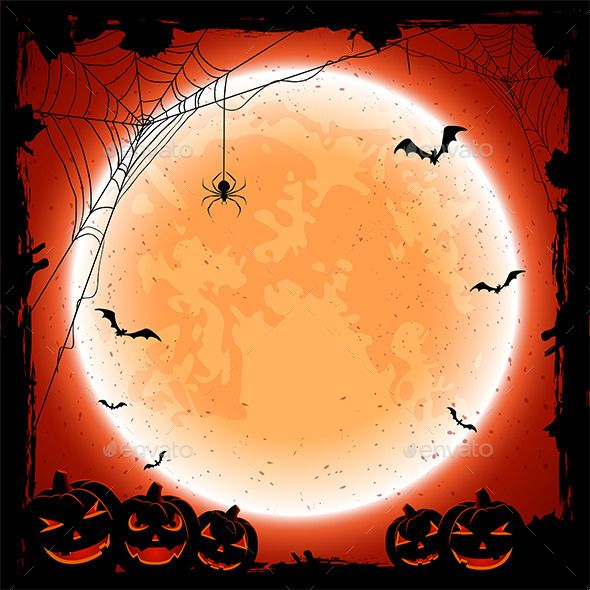 Grunge Halloween background with shining Moon, pumpkins, bats and