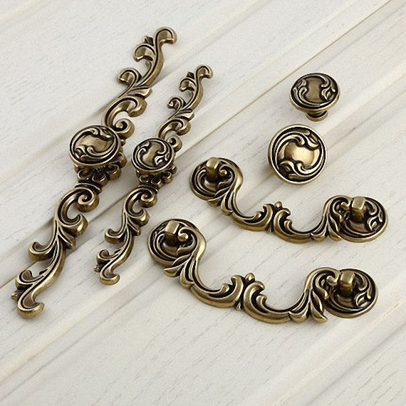 Drawer Knobs Pulls Antique Brass Small Dresser Knobs Handles Metal Flower Rustic  Cabinet Knobs Pull Handles