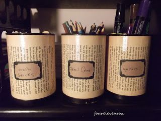 coffee cans painted & mod podged w/ labels.  Put 2-3 toilet paper tubes in them and it will help the pens, pencils, hooks, needles, scissors, ruler, and other assorted items to  stand up.