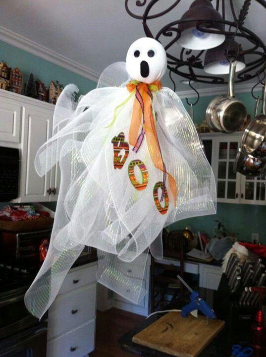 Diy mesh ribbon ghost Holidays Pinterest Mesh ribbon