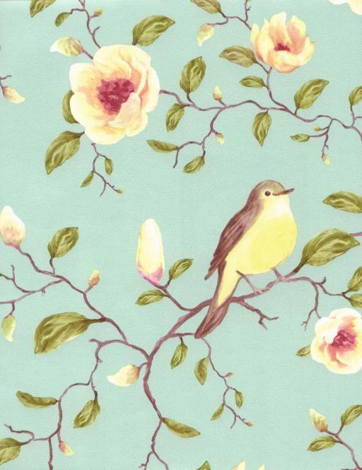Vliestapete Vogel Blumen Turkis 310013 Tapete Tapeten Tapete