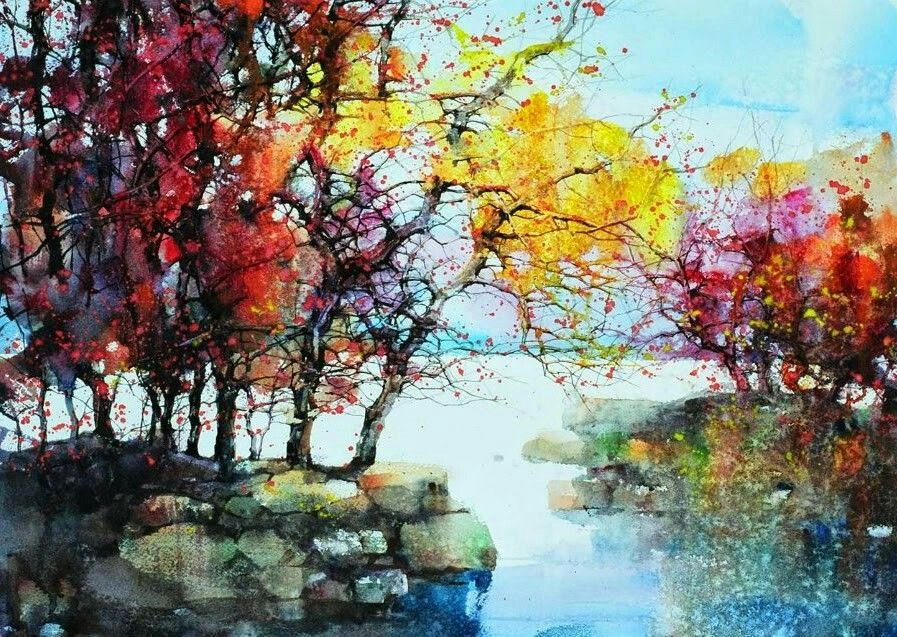 A Beautiful Watercolor Painting By A Famous Chinese Artist
