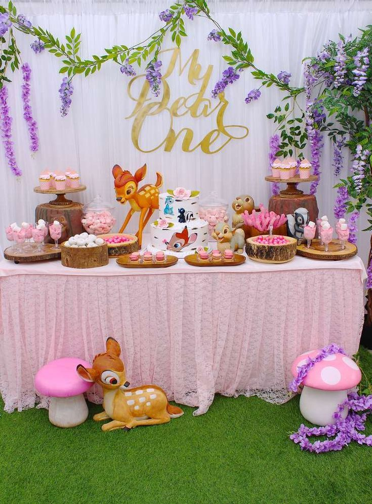 Loving this gorgeous Bambi themed 1st birthday party! See more party ideas and share yours at CatchMyParty.com #catchmyparty #partyideas #woodlandparty #bambi #girl1stbirthdayparty #firstbirthdaygirl
