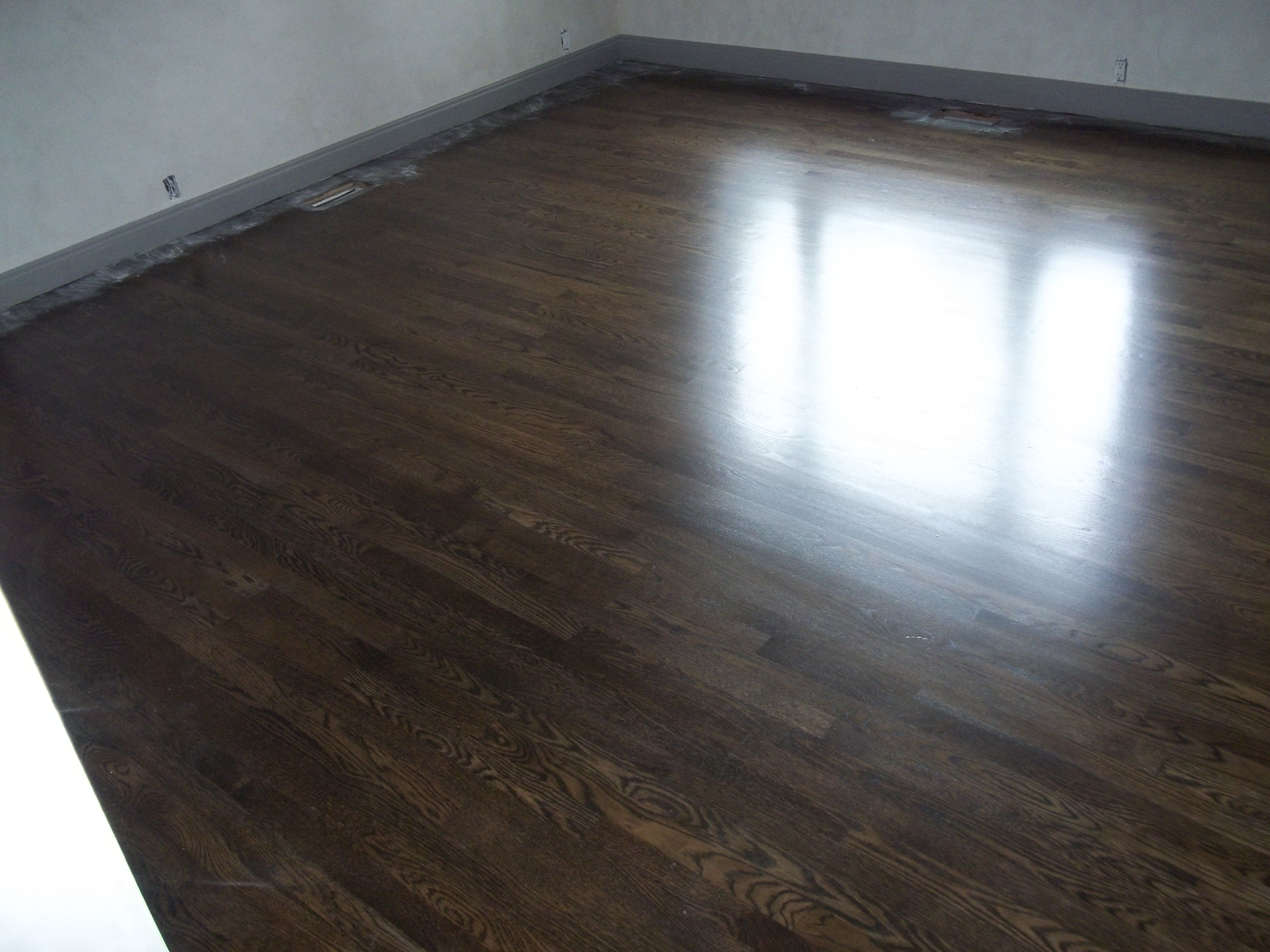 Red Oak Wood Floor Refinished With Duraseal Ebony Stain Modern Tech Wood Floors Red Oak Wood Floors Staining Wood Floors Red Oak Wood