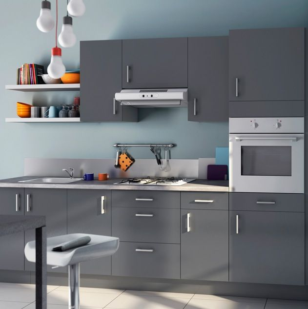 Peinture bleu givr e id es deco maison pinterest for Cuisine equipee gris clair