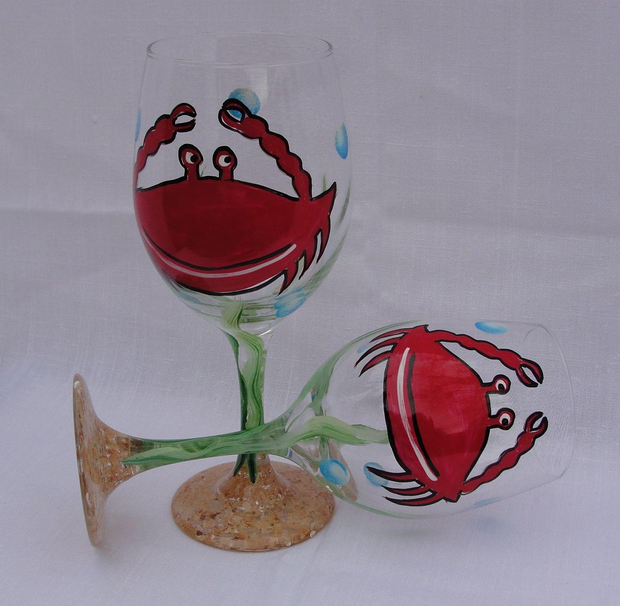 Red Crab Wine Glasses Decorated Wine Glasses Hand Painted Wine Glass Diy Wine Glasses Painted