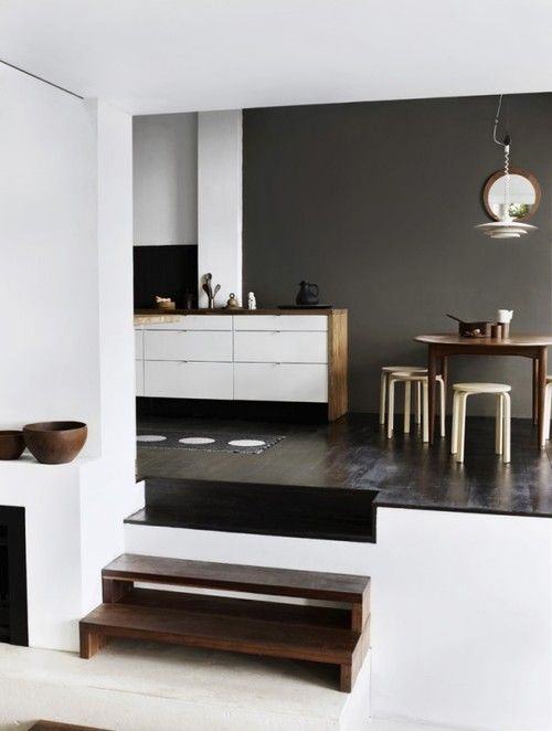 sunken living room, level change Home Sweet Home Pinterest