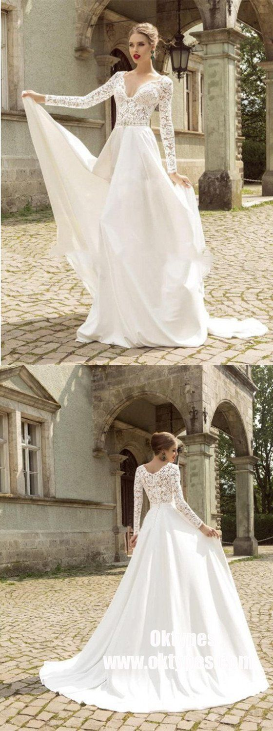 Lace wedding dress v neck november 2018 White Long Sleeve Vneck Chiffon Long Wedding Dresses Online
