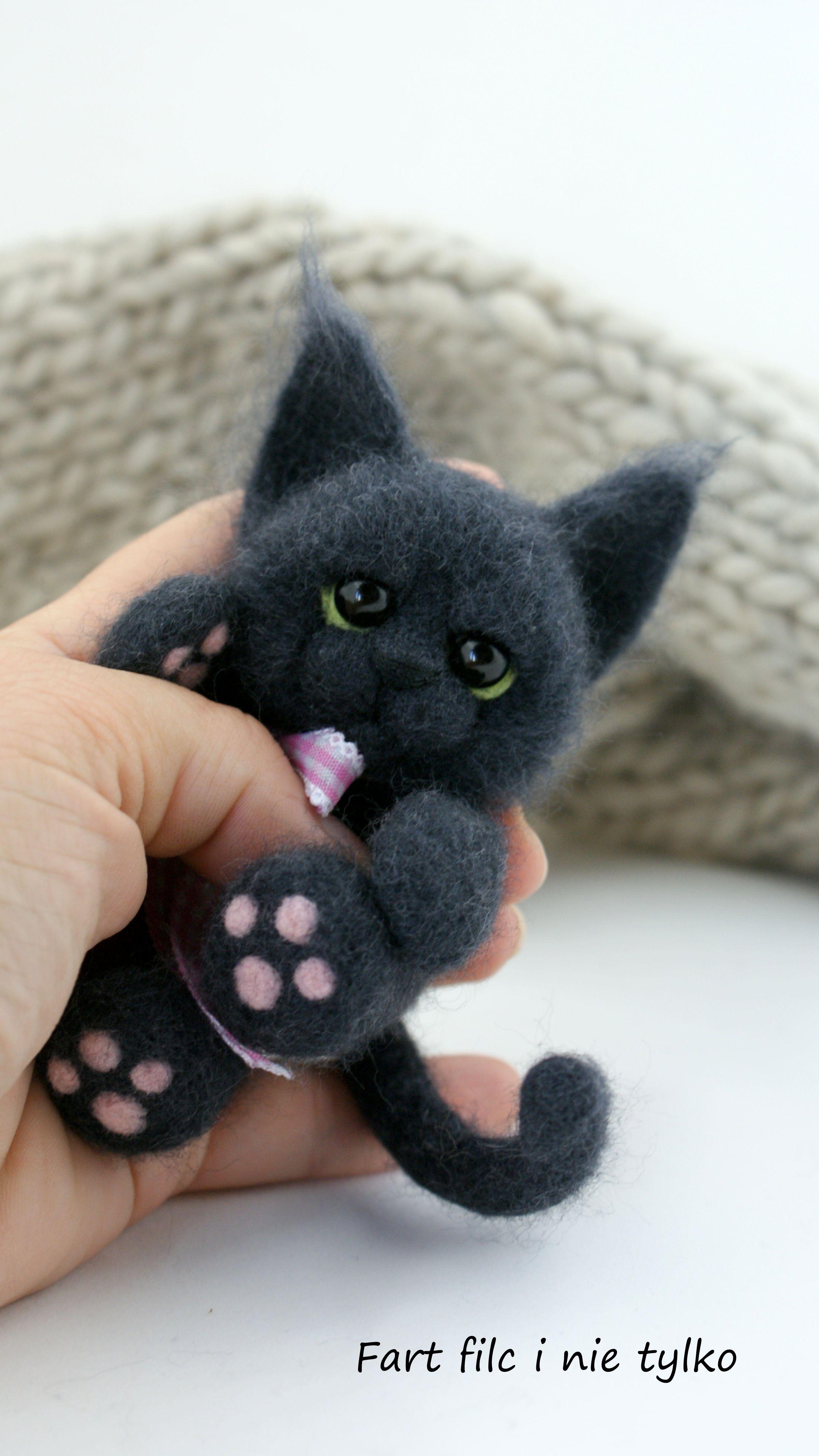 Czarny Kot Kot Cat Filc Polandhandmade Felt Ooak Teddybear