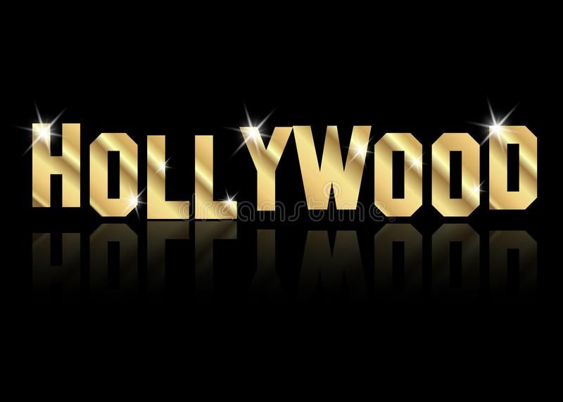 Hollywood Golden Vector Logo Gold Letters Isolated Or Black Background Affiliate Vector Logo Hollywood Vector Logo Black Backgrounds Gold Letters