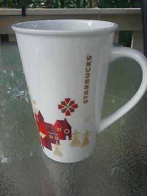 Starbucks Original Holiday Collectible Latte Mug/Cup Lg White Red Gold Design