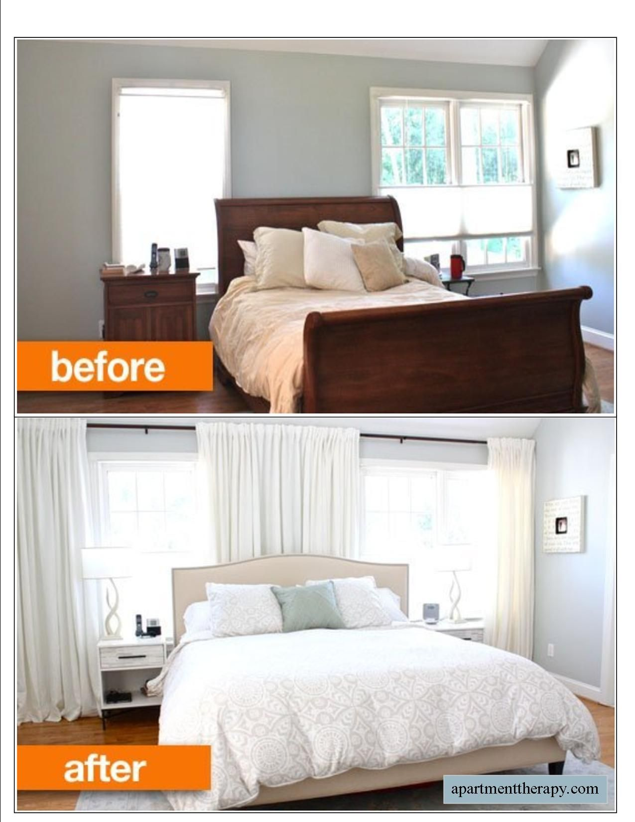 Window behind bed  before u after disguising offset windows behind a bed  antes