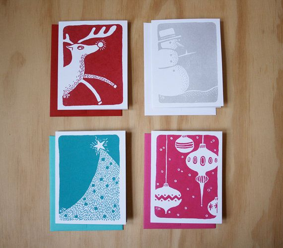 Screen Printed Holiday Cards By Bluestar Ink Bluestarink Greetingcards