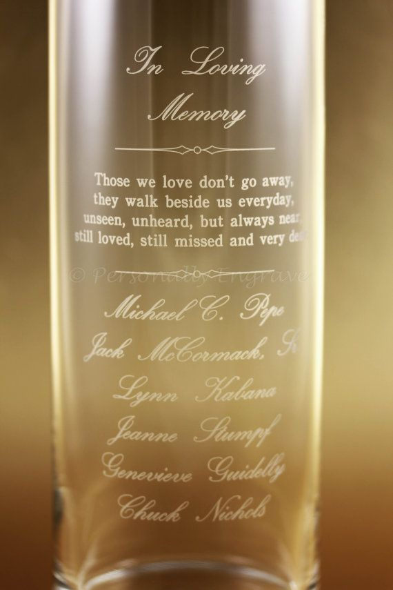 Memorial Candle Vase Floating Candle In A Custom Engraved Glass Vase A Personal Touch In Memory Of Your Loved Ones