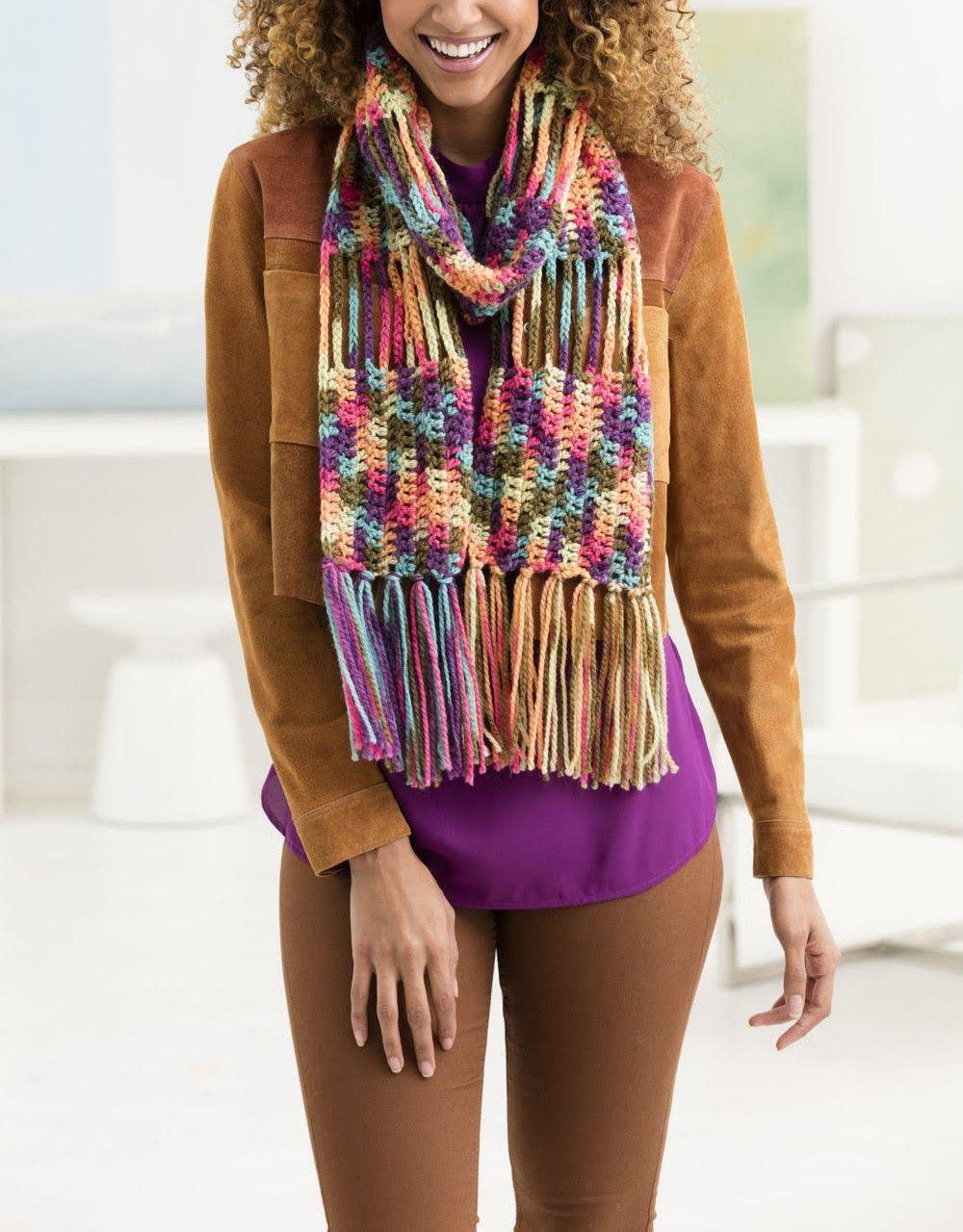 PATRON - BUFANDA FRINGE COLOR WAVES - Estambres Crochet | Bufandas ...