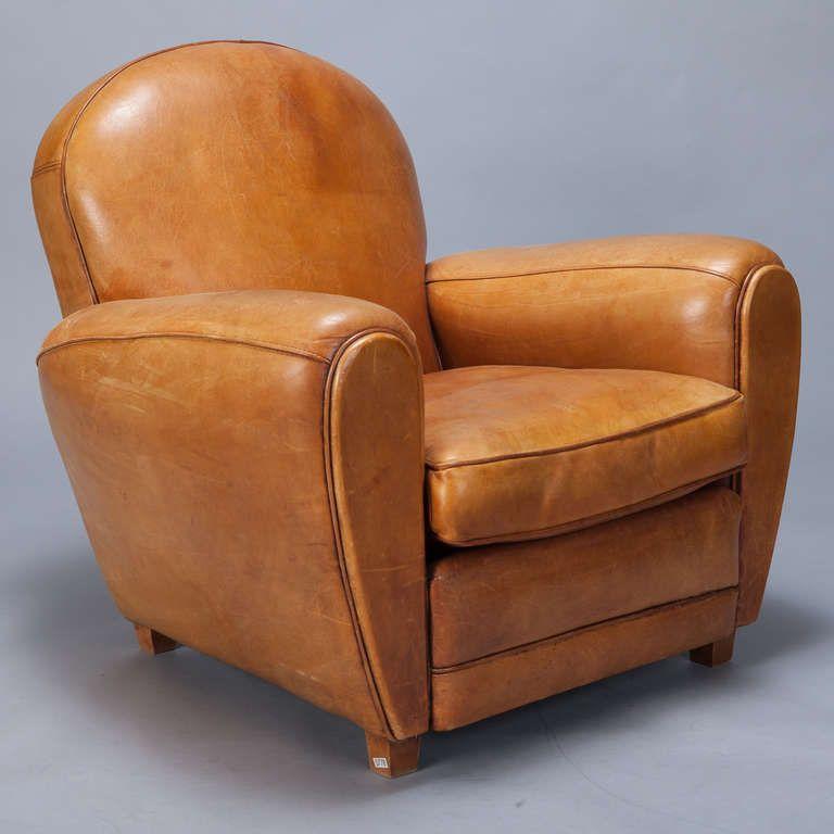 Fine 1Stdibs Com Pair Of Art Deco Caramel Colored Leather Club Evergreenethics Interior Chair Design Evergreenethicsorg