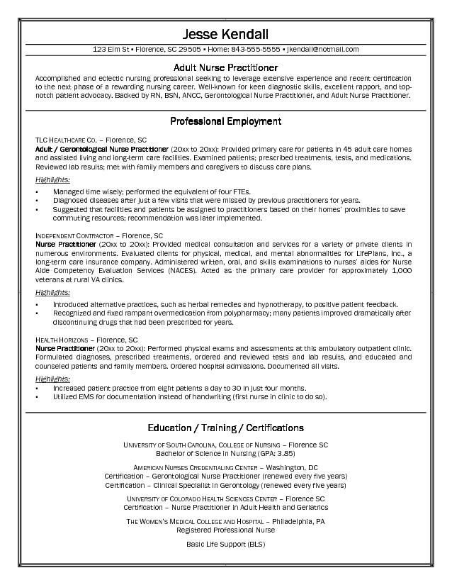 Free Nurse Practitioner Cover Letter Sample -    www - pediatric onology nurse sample resume