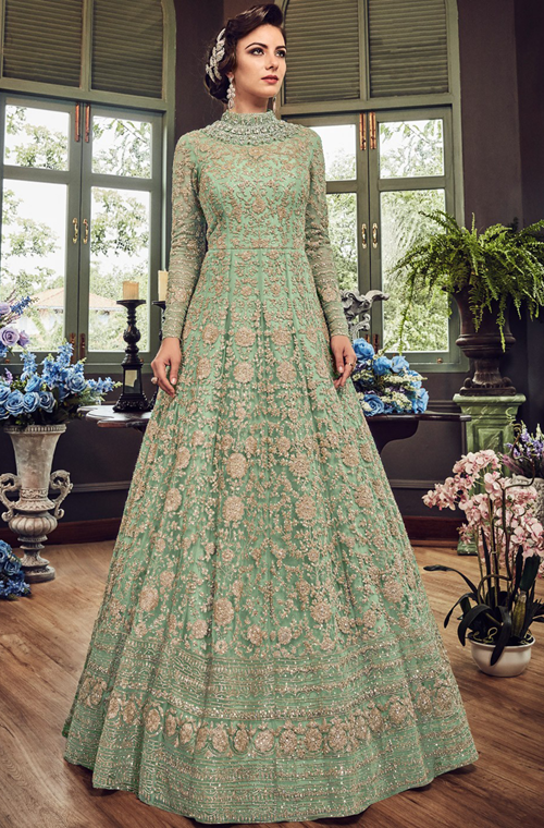 24d1fde049787f Mint Green Designer Heavy Embroidered Net Bridal Anarkali Gown Anarkali  Dress