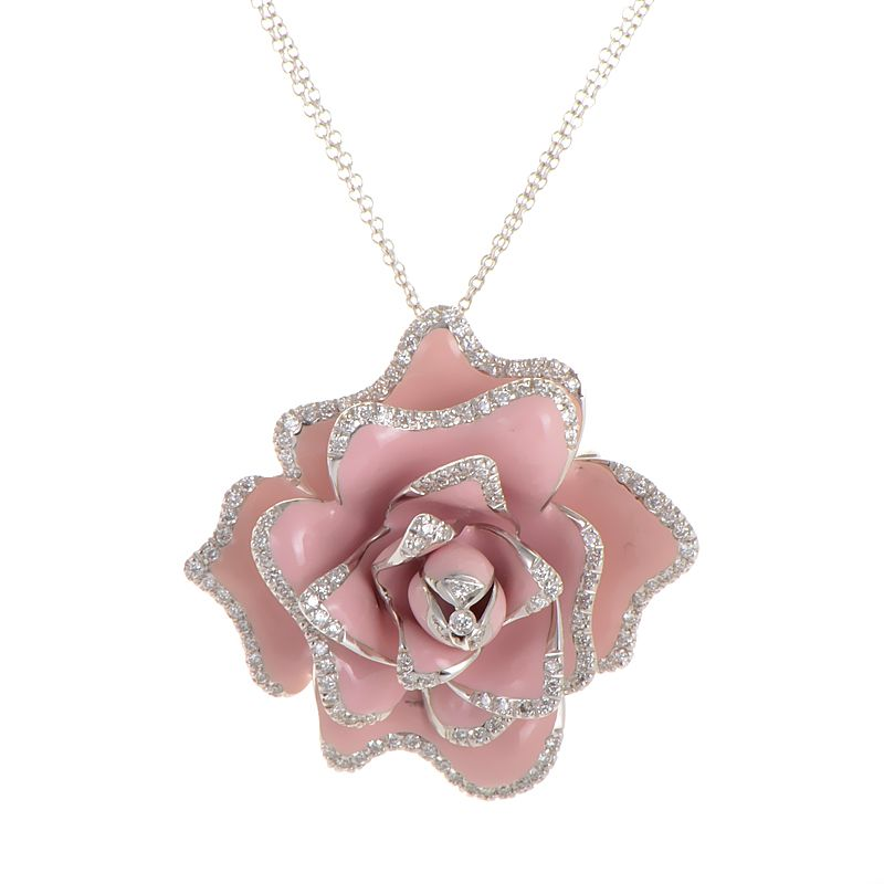 Coin 18k white gold diamond pink rose brooch pendant necklace coin 18k white gold diamond pink rose brooch pendant necklace ebay audiocablefo light ideas