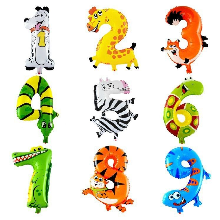09 Number Foils Animals Cartoon 16inch Mylar Balloon for Party