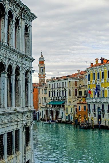 """ Canal Grande, Venice, Italy."" The Grand Canal (for Venetians also Canalazzo or ""Canałaso"") is the main channel of Venice. Along about 3800 meters (width from 30 to 70 m, average depth of 5 m), divided into two parts the old town by drawing an ""S"" upside going dall'innesto the Liberty Bridge to San Marco Basin."