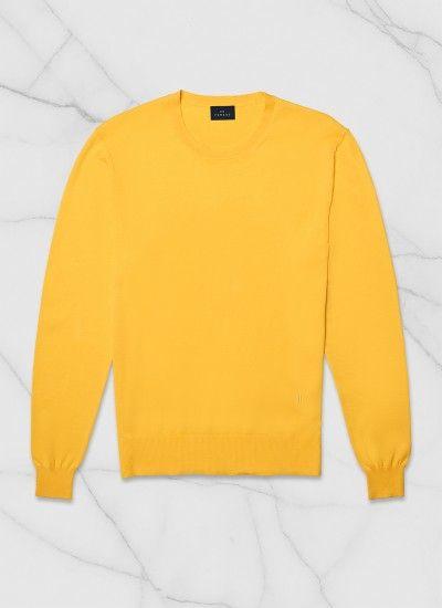 c059f654a Pull col rond homme en coton gazé : Achetez votre pull homme jaune ...