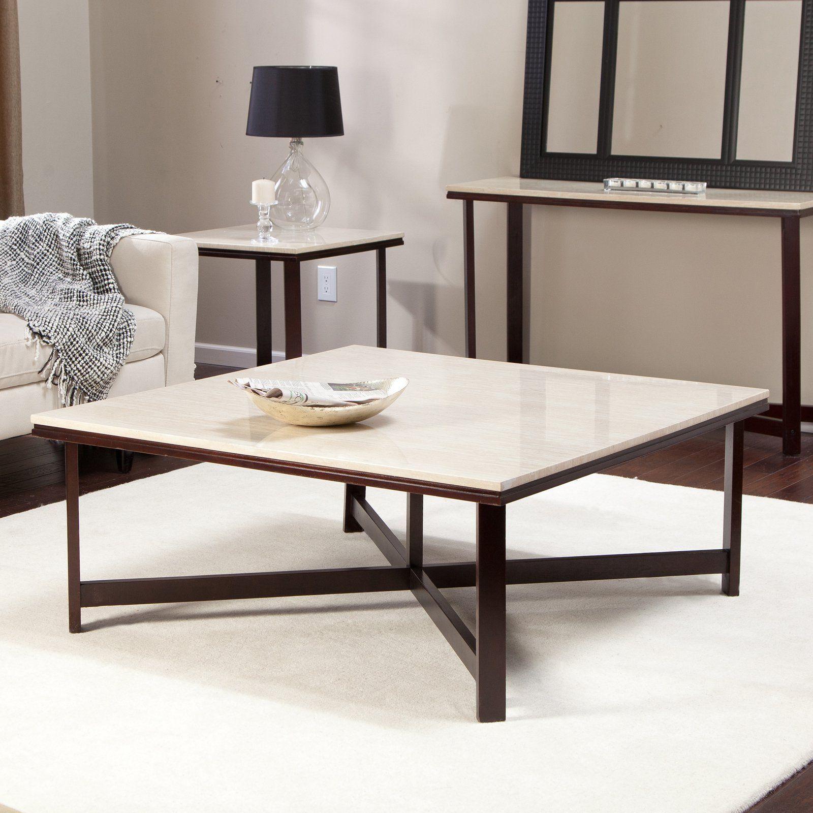 Avorio faux travertine square coffee table hayneedle