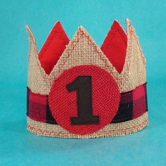 First Birthday Boy Boy Birthday Crown Boy Birthday: Lumber Jack Birthday Crown, Red Black, Burlap, Boy Crown