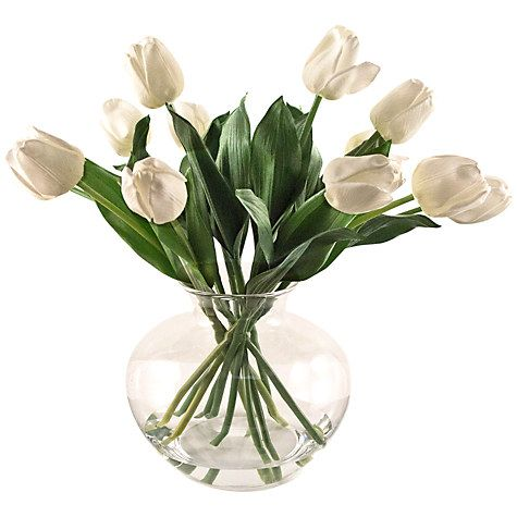 Peony Artificial Tulips In Fluted Glass Bowl Cream Xoxo