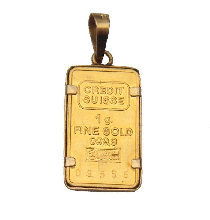 24k Fine Gold Bar Credit Suisse 1 Gram Bullion Ingot 14k Framed Charm Pendant Vintage By Bonniesbooty On Etsy Credit Suisse Gold Bar Gold