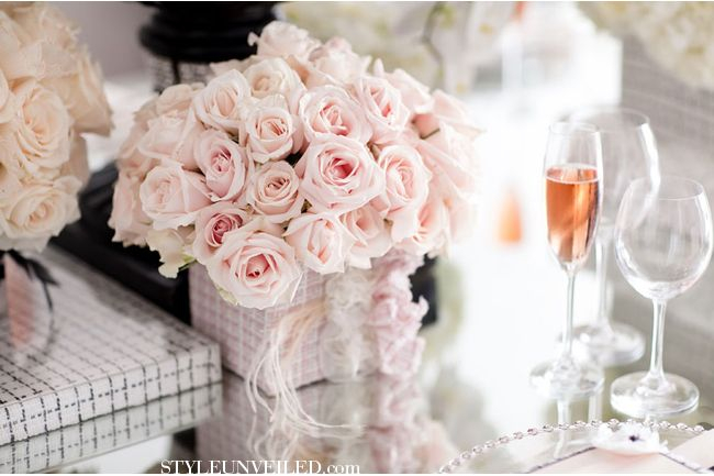Chanel Wedding Inspiration / Black and Pink Elegant Wedding / Pam Scott Photo / Karen Tran Events / J. Grace Luxurious Event Stationery / via StyleUnveiled.com