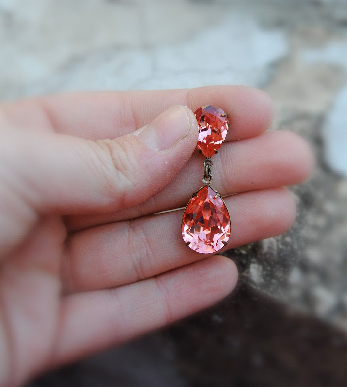 Coral Bridesmaid Drop Dangle Earrings Pink Peach Wedding