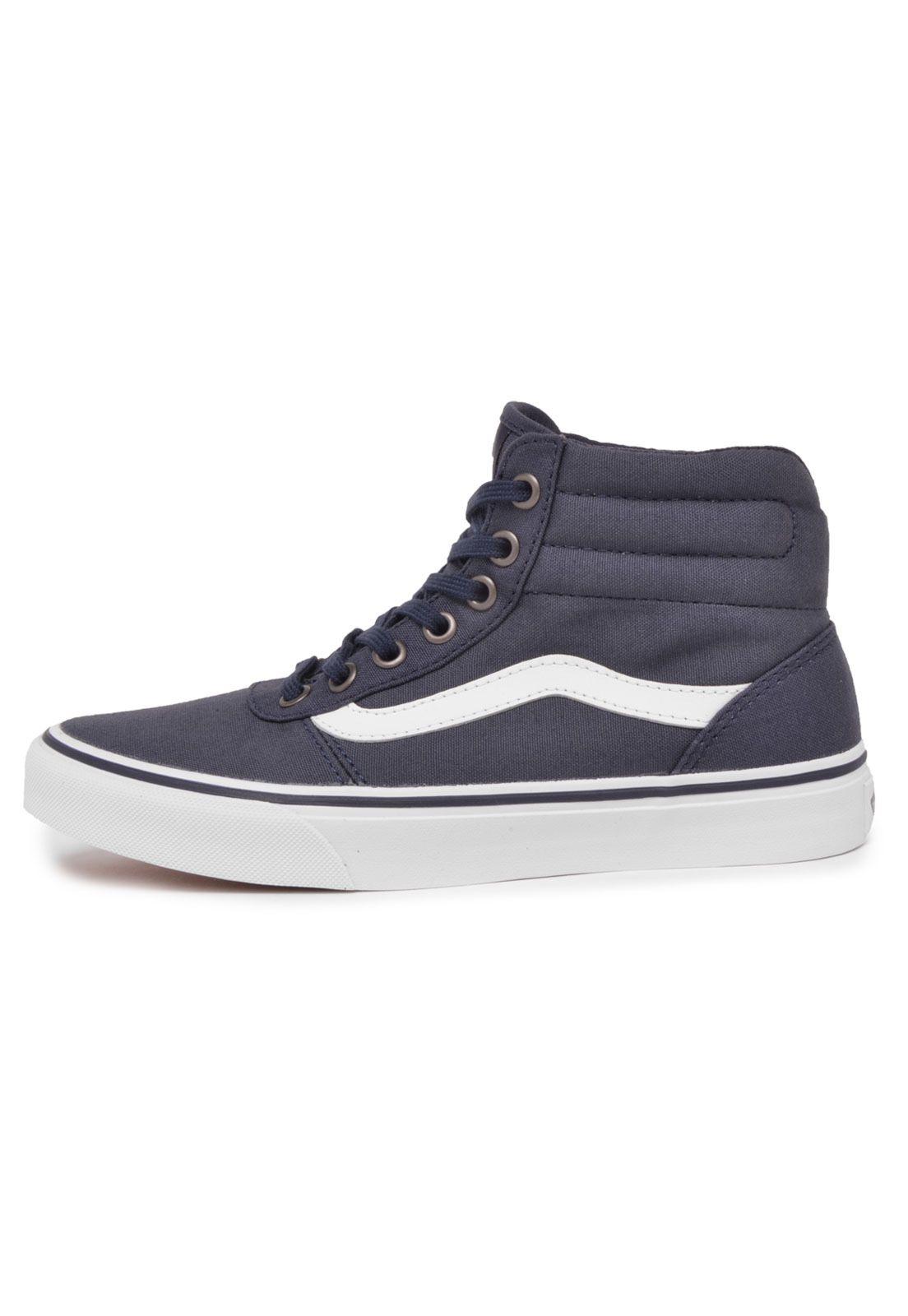 6dc11f028ba Tênis Vans Milton HI Recorte Azul-Marinho Branco