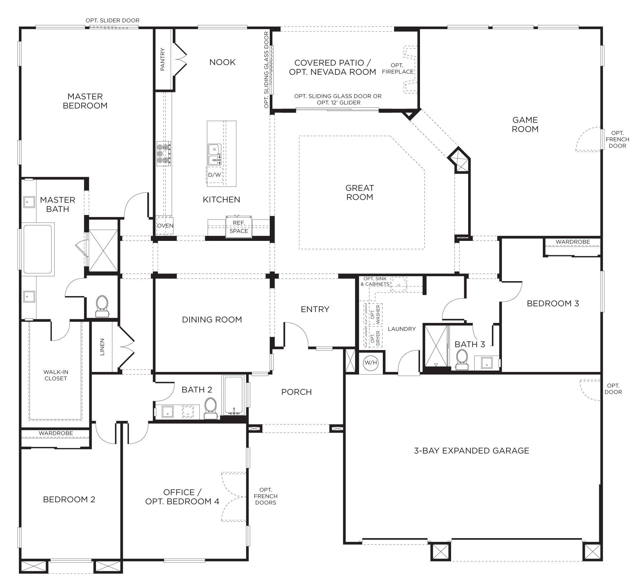 Floorplan 2 3 4 bedrooms 3 bathrooms 3400 square feet for Four bedroom single story house plans