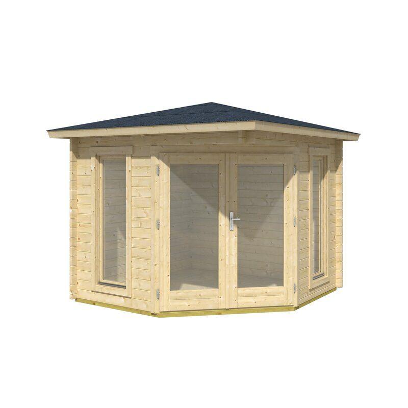 Sol 72 Outdoor Astrild 9 X 9 Ft Overlap Log Cabin Wayfair Co Uk In 2021 Corner Summer House Corner Log Cabins Summer House