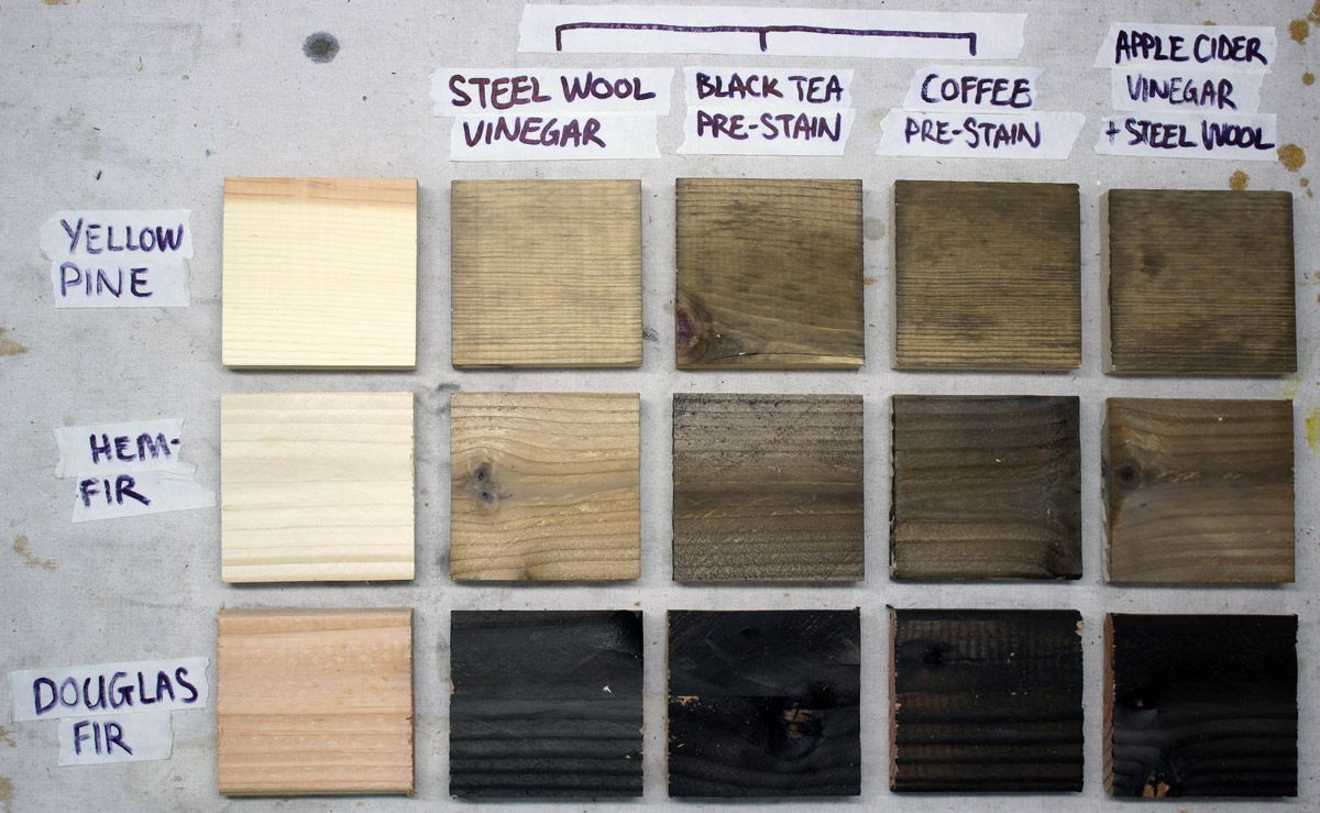 Make New Wood Look Old With Steel Wool And Vinegar Aging Wood Stain On Pine Staining Wood