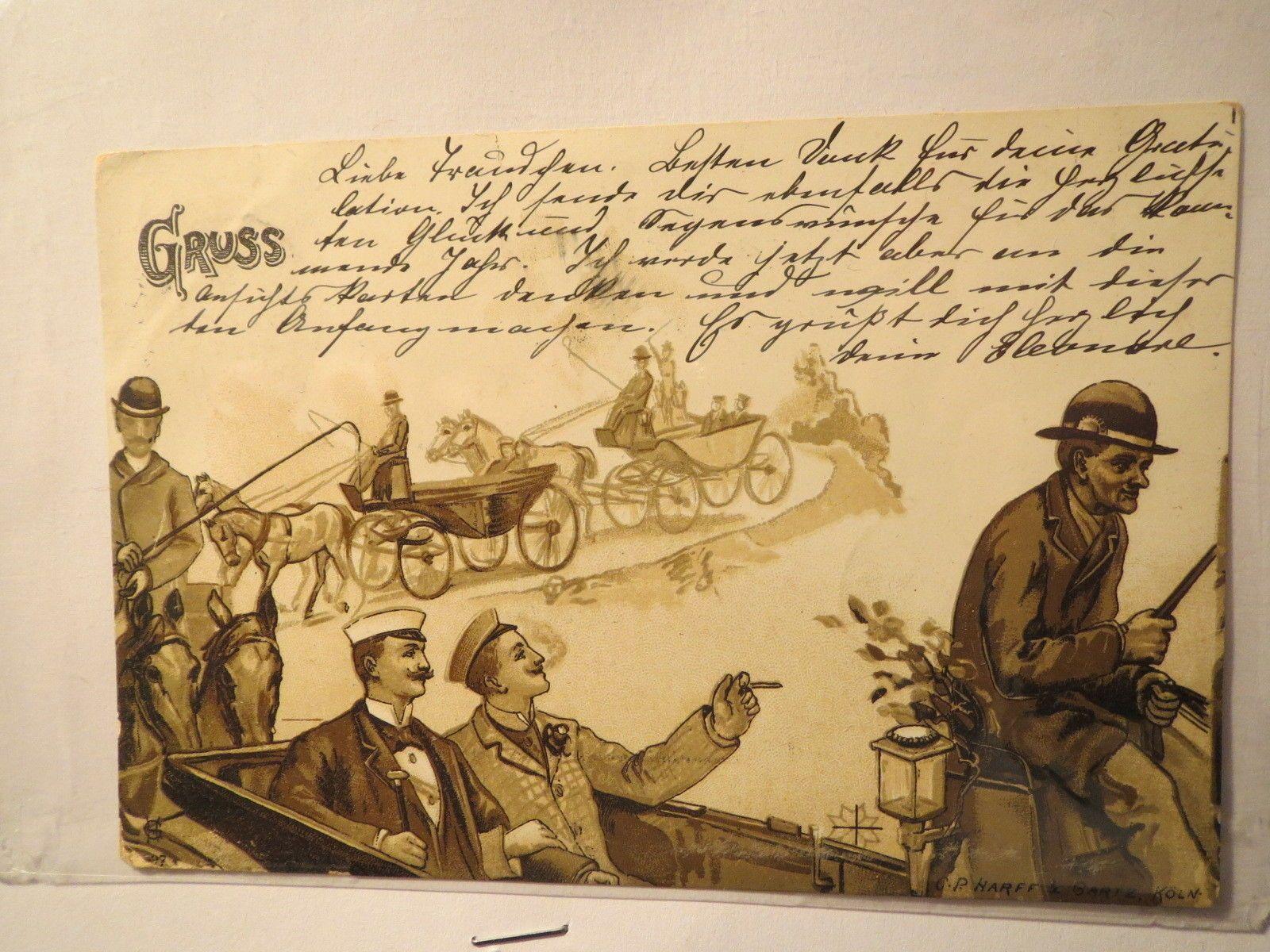 Gruss Karte   Couleur Studenten in einer Kutsche   20 aus Aachen ...