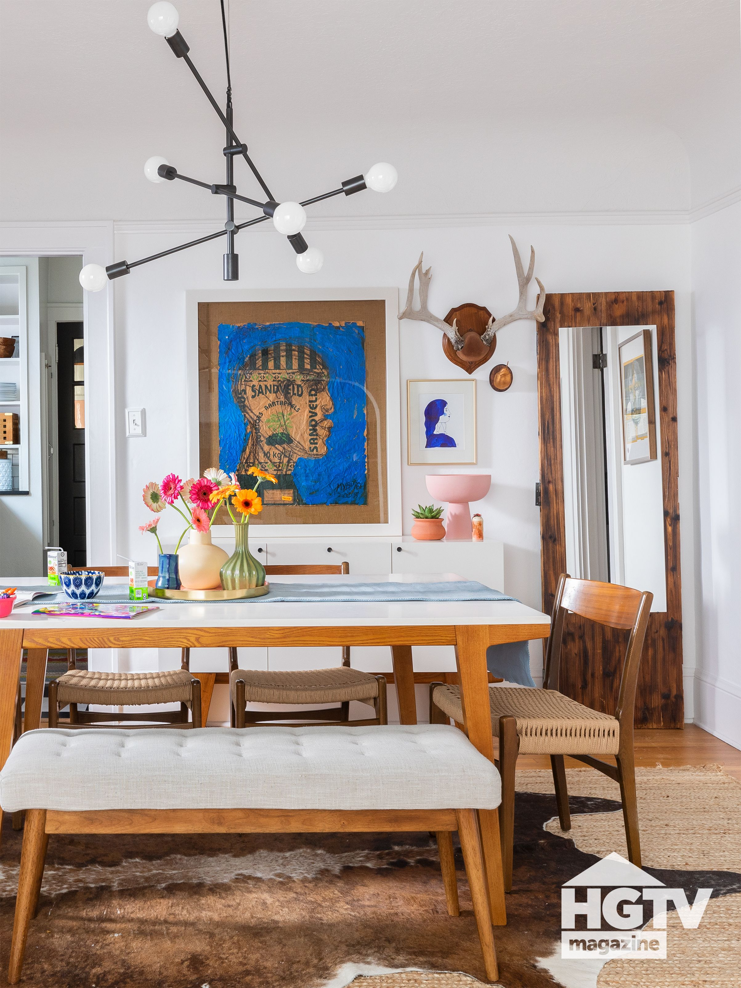 A Scandinavian Dining Room From Hgtv Magazine Scandinavian Dining Room Neutral Dining Room Eclectic Dining Room