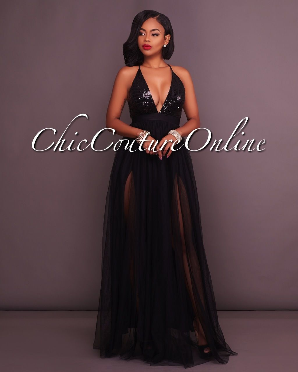 Madrina black tulle rose gold sequins maxi dress dressmycloset