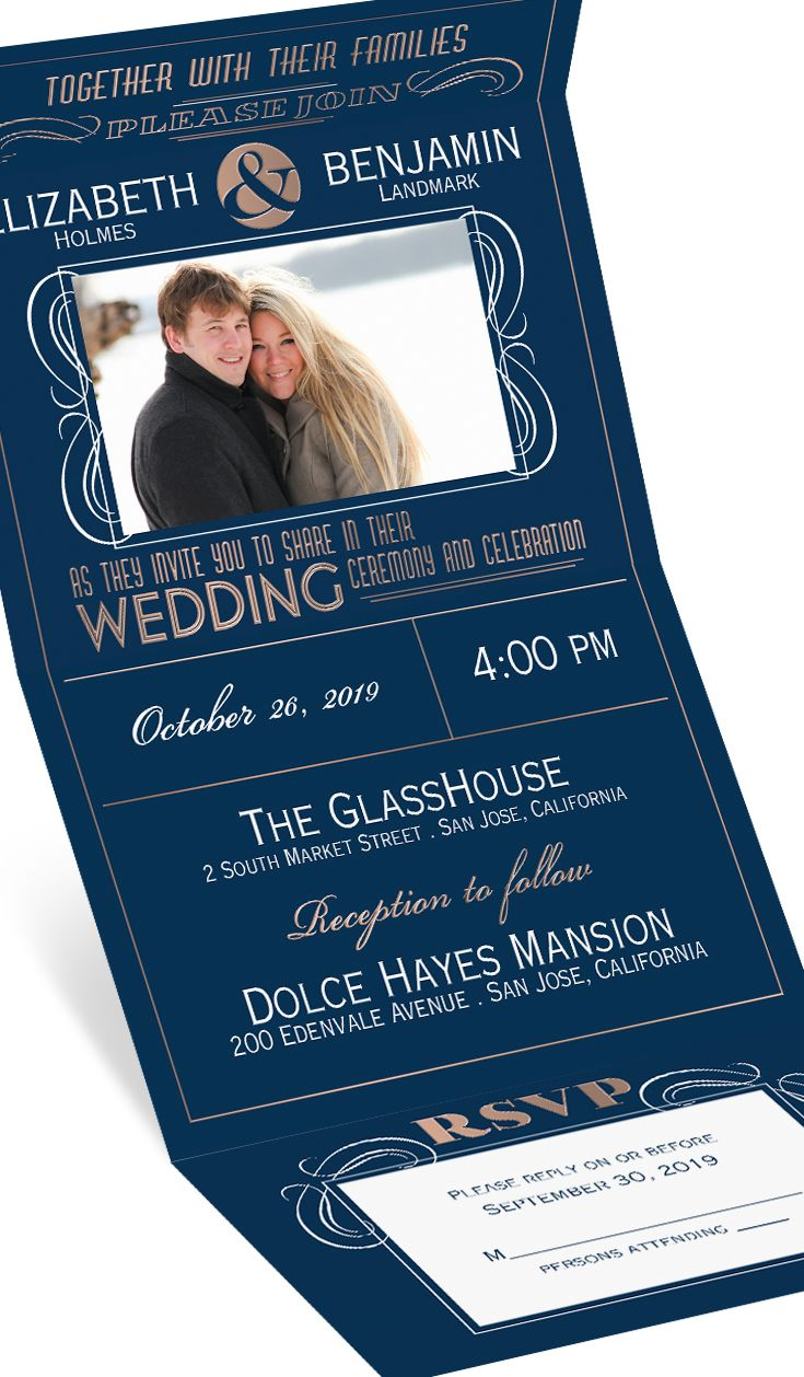Modern Romance Silver Foil Seal And Send Wedding Invitations At Invitations By Dawn Wedding Invitation Kits Navy Wedding Invitations Wedding Invitations