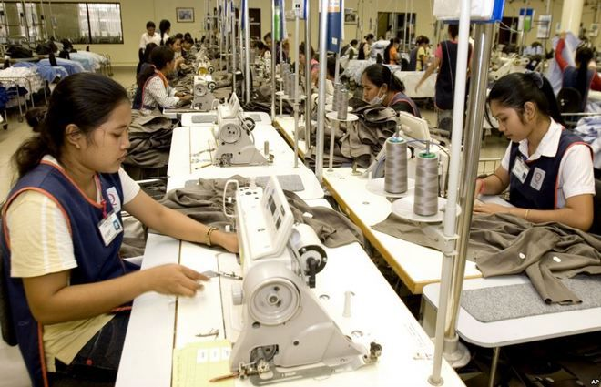 Production in garment factory